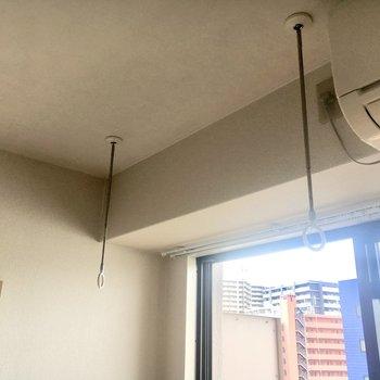 洗濯竿を付ければ室内干しもできます。