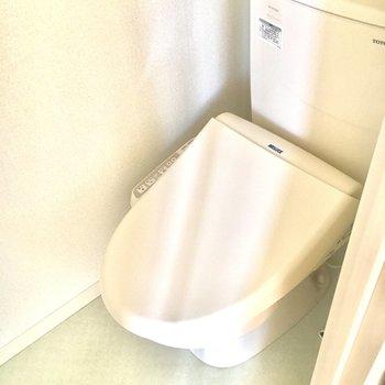 トイレに収納はないのですぐ近くにある洗面台の収納を活用しましょう。