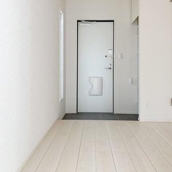 廊下に出ると、右サイドにサニタリーがありますよ。