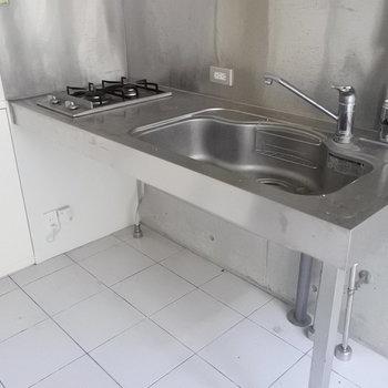 キッチンはシンプルにステンレスでね。(※写真は同間取り別部屋のものです)