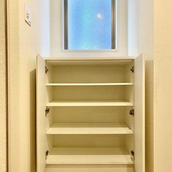 左の収納。メインのシューズボックスとして使いたいですね。※写真は6階の同間取り別部屋のものです