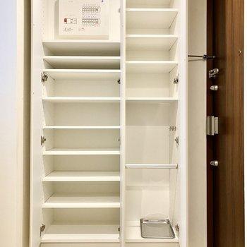 正面の収納スペース。仕切りが多く多用途ですね。右下には傘もたてられますよ。※写真は6階の同間取り別部屋のものです