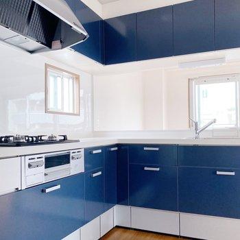 【LDK】キッチンラックがなくても大丈夫なくらい、収納豊富です◯