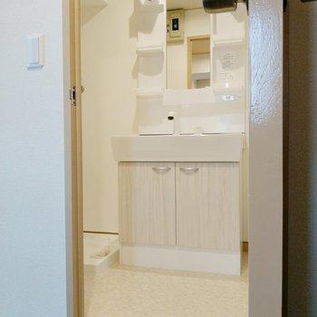こちら脱衣所!木目の扉が素敵な洗面台。