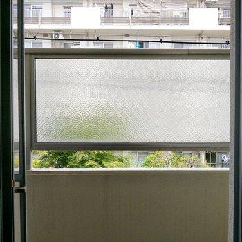 高い位置にすりガラスがあるので、人目は気になりません。