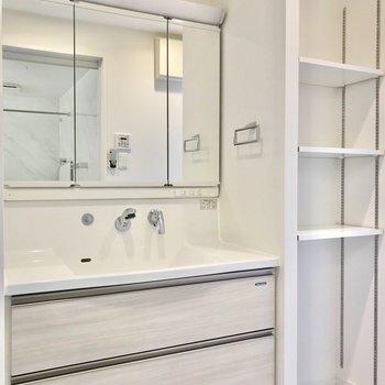 でも2人並んで歯磨きできそうな洗面台があります。隣の可動棚にはタオルを置きたいな。