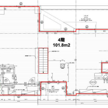 3階と4階のメゾネットで、こちらが4階の図面です