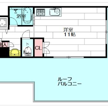 大きなバルコニー!1Rですがお部屋もゆったりしています。
