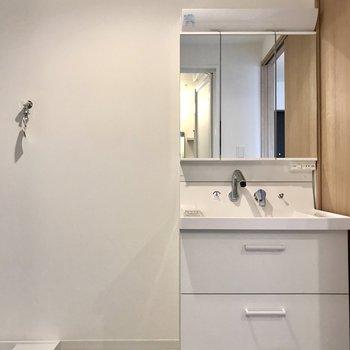 スタイリッシュな洗面台。3面鏡の後ろも収納ですよ!