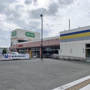 駅目の前にはスーパーも。