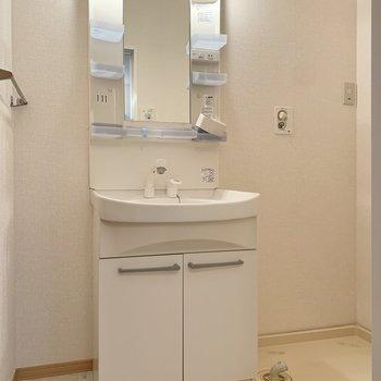 機能的な洗面台と洗濯機置き場がありますよ。