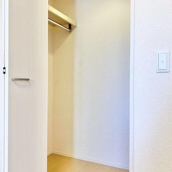 【洋室6帖】照明付きのウォークインクローゼットです。