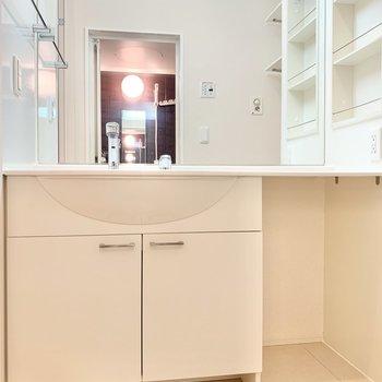 大きな鏡が付いた独立洗面台です。