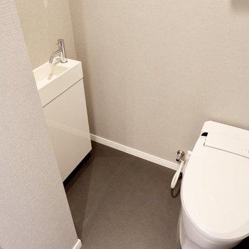 トイレ奥に小型の手洗いがあります。