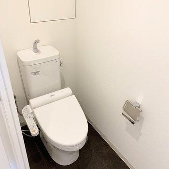 収納の隣のドアの中がトイレ。(※写真は8階の同間取り別部屋のものです)