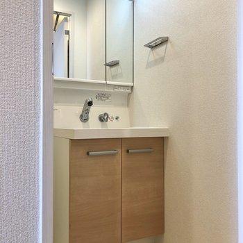 左手の扉は洗面所・浴室に続いています。※写真はクリーニング前のものになります