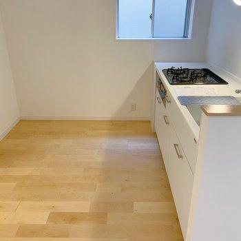 キッチン奥行きはゆったりめ。冷蔵庫置いて、ワゴンも置いて…