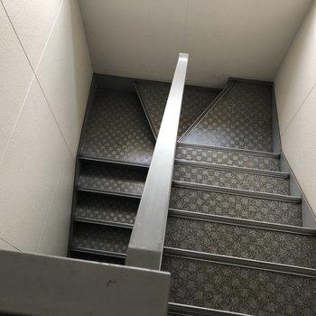 階段は少し狭め。大きな家具を運ぶ際はご確認を!
