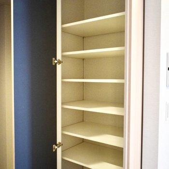 棚がたくさんついているので、収納ケースがなくても収納できそう!玄関の隣なので、靴を入れてもいいですね。(※写真は4階の同間取り別部屋のものです)