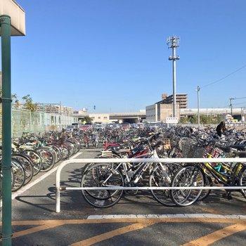 駅には無料の駐輪場。結構広いですが、密度は高め。