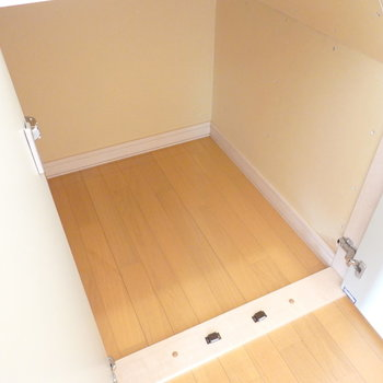 階段下には掃除道具などをしまえる収納付き。