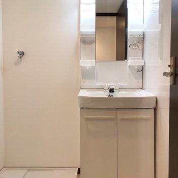 洗面台と洗濯機置き場は並んでいます。