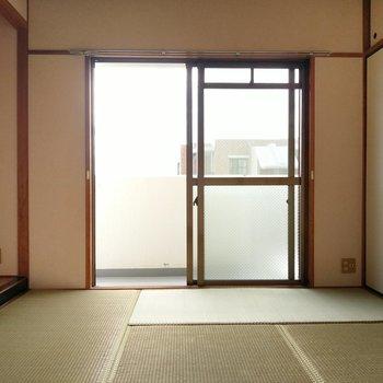 こちらは脱衣所正面の和室。窓横にテレビのアンテナ端子もあります。