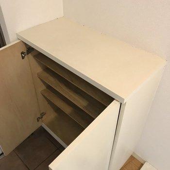 シューズボックスは普通サイズ。上には雑貨を飾りましょ◯(※写真は清掃前のものです)