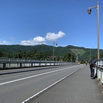 多摩川にかかる大きな橋を通ります。