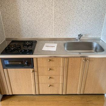 【DK】キッチンは使いやすそうな2口ガスコンロ。