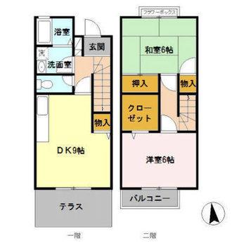 2階建の2DKです。