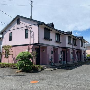 ピンク色が目印のアパートです。