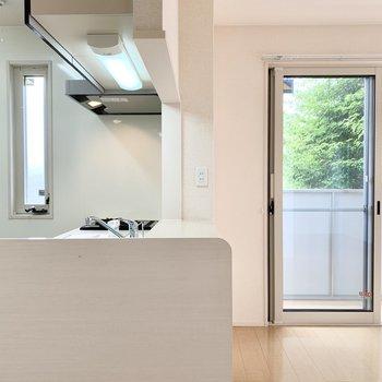 居室のドアを開けると、カウンターキッチンの1Rがお目見え。