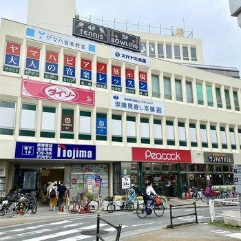 駅前にはスーパーや100円ショップの入った商業施設が。