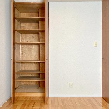【洋室約5帖】収納は奥行きがありますよ。棚は取り外し可能です。