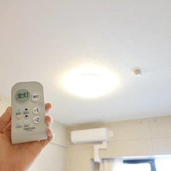 照明は調光調色対応なので、暖色にしておくと素敵な雰囲気に。(※写真は4階の同間取り別部屋のものです)