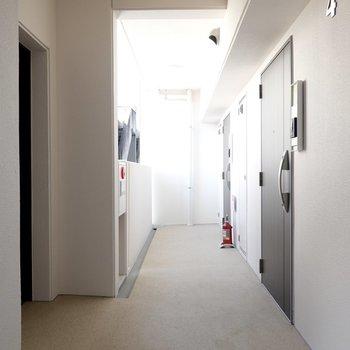 玄関前の共用部。お部屋は1フロアに3戸のみ。