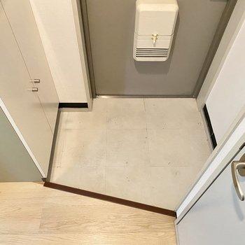 玄関は少しコンパクトなので脱ぎっぱなしは1足までかな!(※写真は清掃前のものです。)