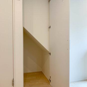 脱衣所の右の扉を開けると、ちょっとした収納があります。