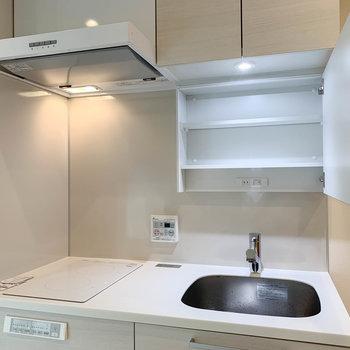 キッチンと洗面台を合体させた作り。鏡うらには収納とこんせんとがあります。