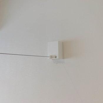 お部屋の真ん中あたりに、収納式ワイヤーの物干しがあります。