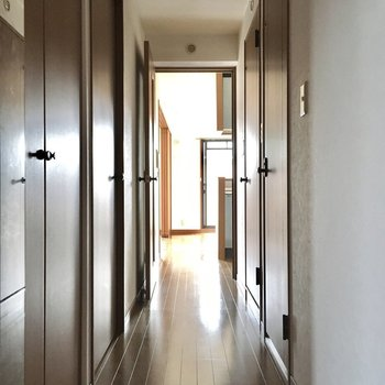 玄関入って扉がいっぱい。まずは手前のドアから。(※写真は3階の同間取り別部屋のものです)