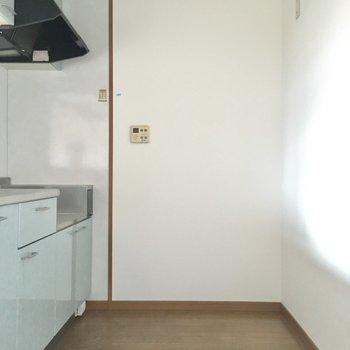 奥側に冷蔵庫を壁付けで置いて。食器用のラックなんかも置けそうだね。(※写真は3階の同間取り別部屋のものです)