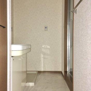 サニタリーは手前に洗面台、奥には洗濯機置き場。(※写真は3階の同間取り別部屋のものです)