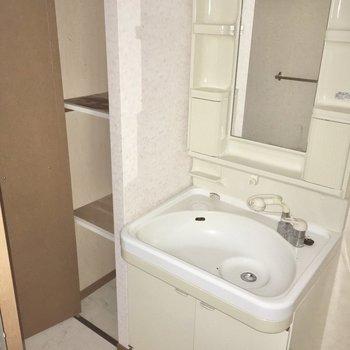 タオルをおく棚もついているのはポイント高め・・・!(※写真は3階の同間取り別部屋のものです)