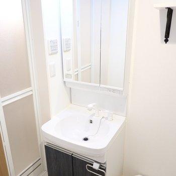 その隣には洗面台。鏡の裏が収納なので生活感も隠せますよ。
