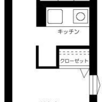 奥行きのある1Kタイプのお部屋です。