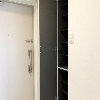 シューズボックスは1段に1足くらいのサイズ感の可動棚。