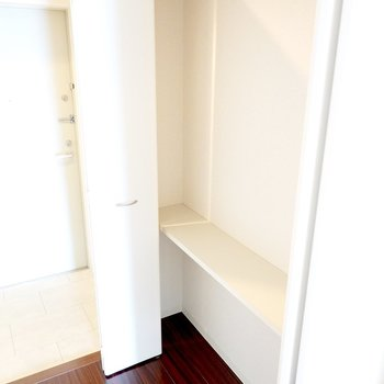 トイレの対面側には奥行きの浅い収納。小物収納に役立ちそう。