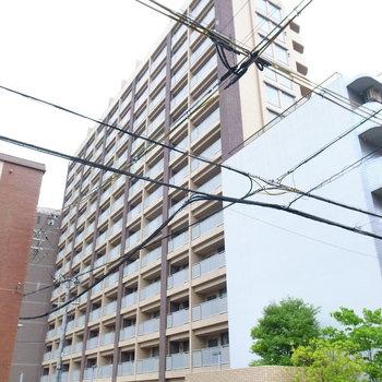 横幅のある大きなマンション。駅前からすこし離れた、しずかな住宅地です。